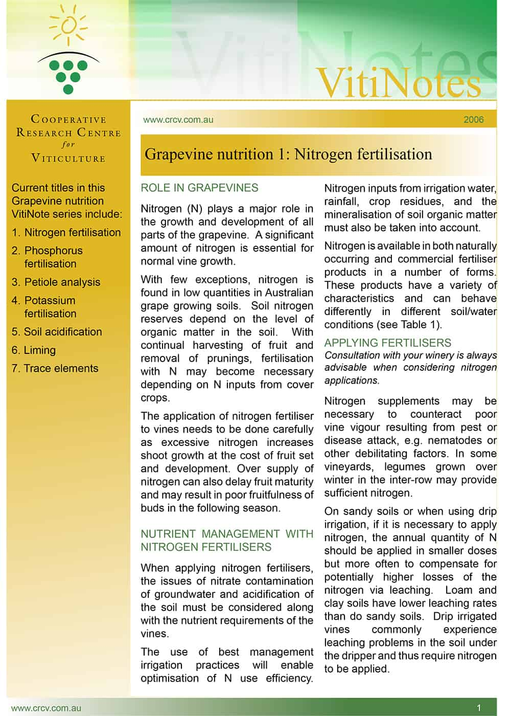Grapevine nutrition 1: Nitrogen fertilisation