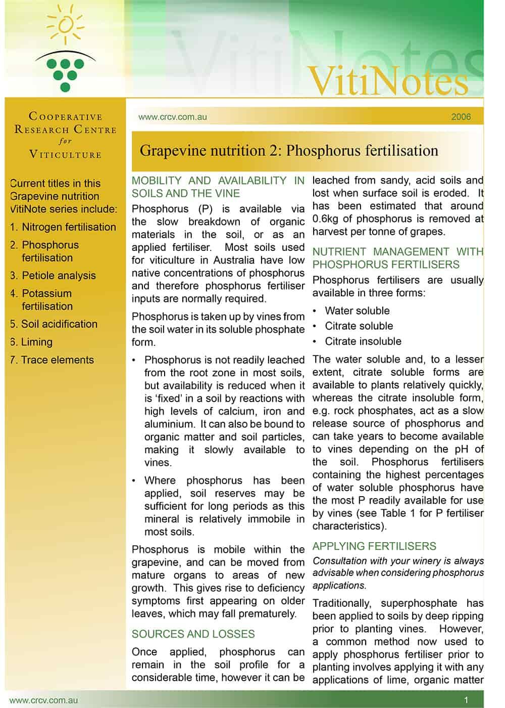 Grapevine nutrition 2: Phosphorus fertilisation