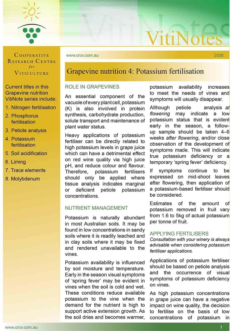 Grapevine nutrition 4: Potassium fertilisation