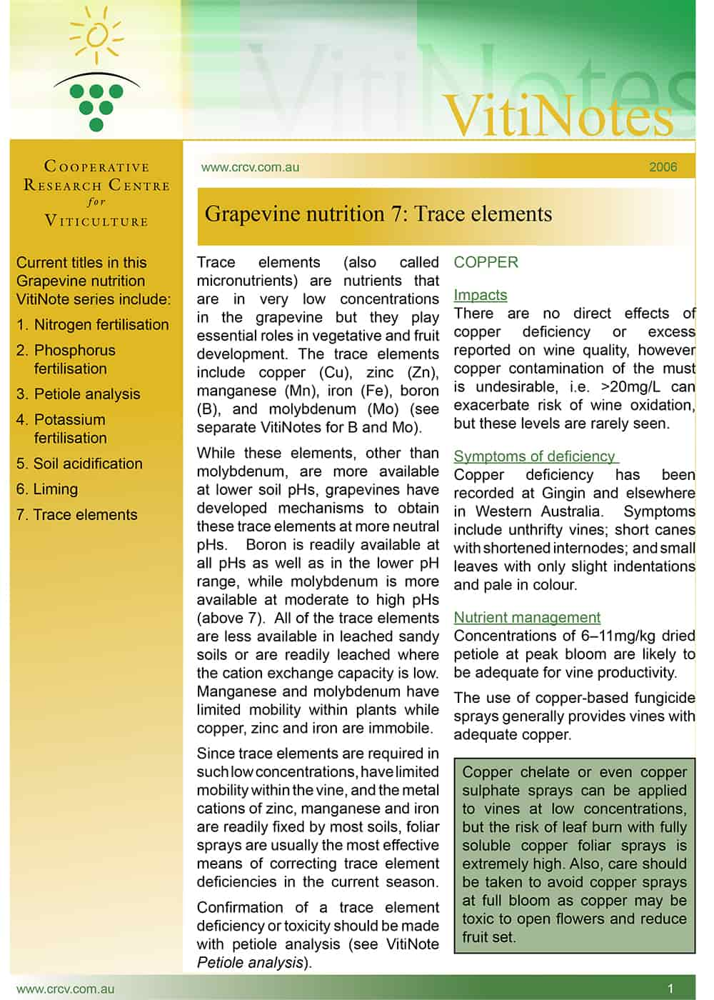 Grapevine nutrition 7: Trace elements