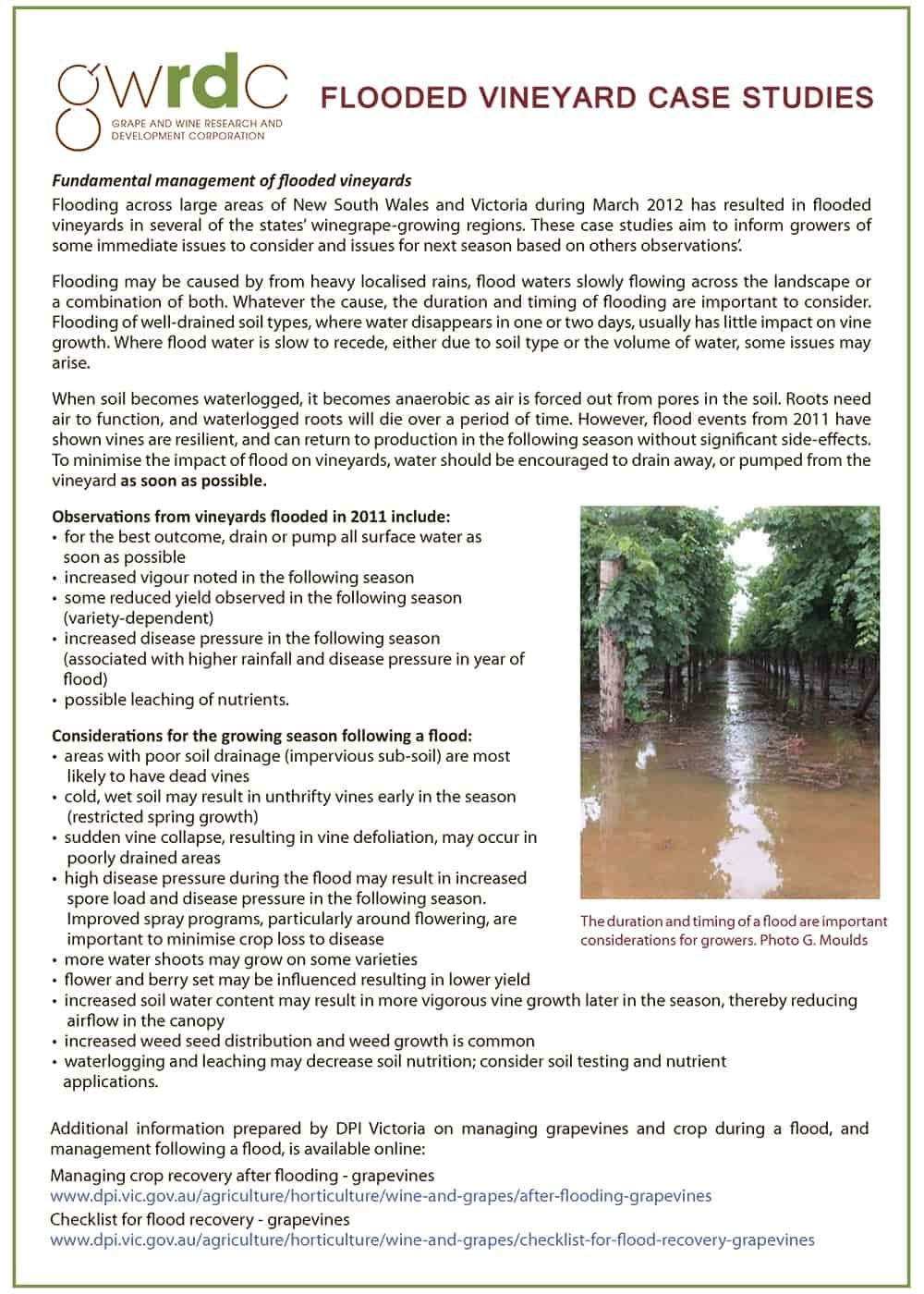 Flooded Vineyards Case Studies