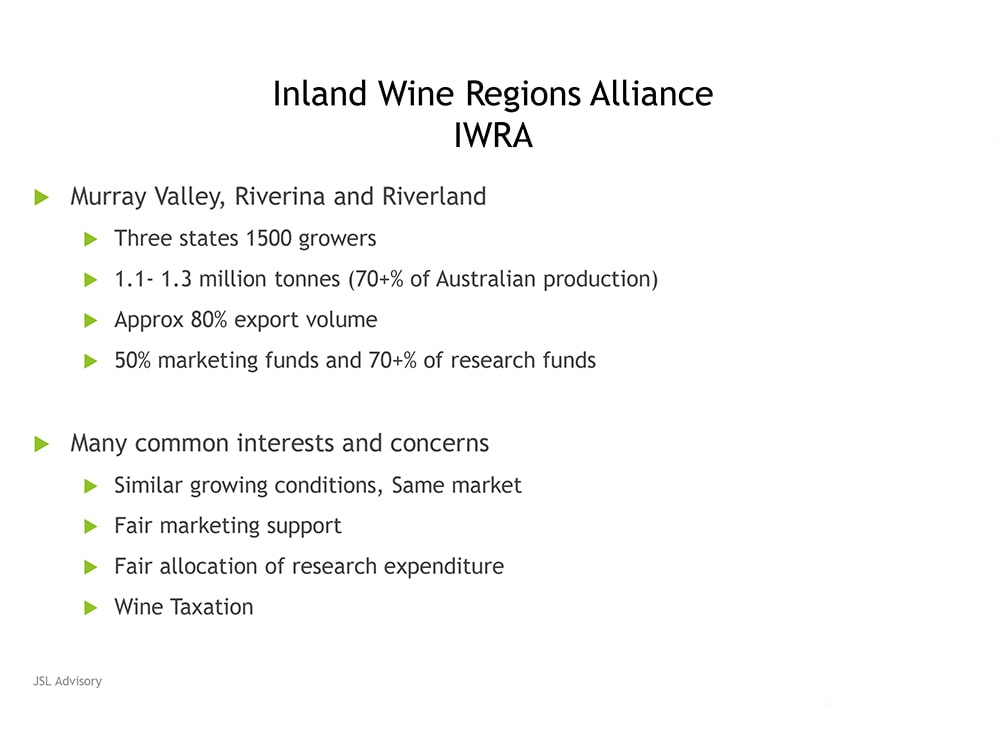 Paying the price of water torture-Jim Caddy, Inland Wine Regions Alliance