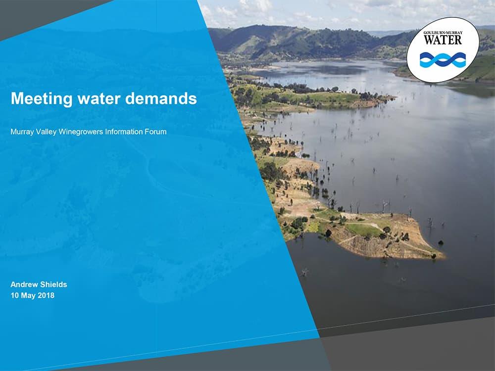 Meeting water demands - Andrew Shields, Goulburn-Murray Water