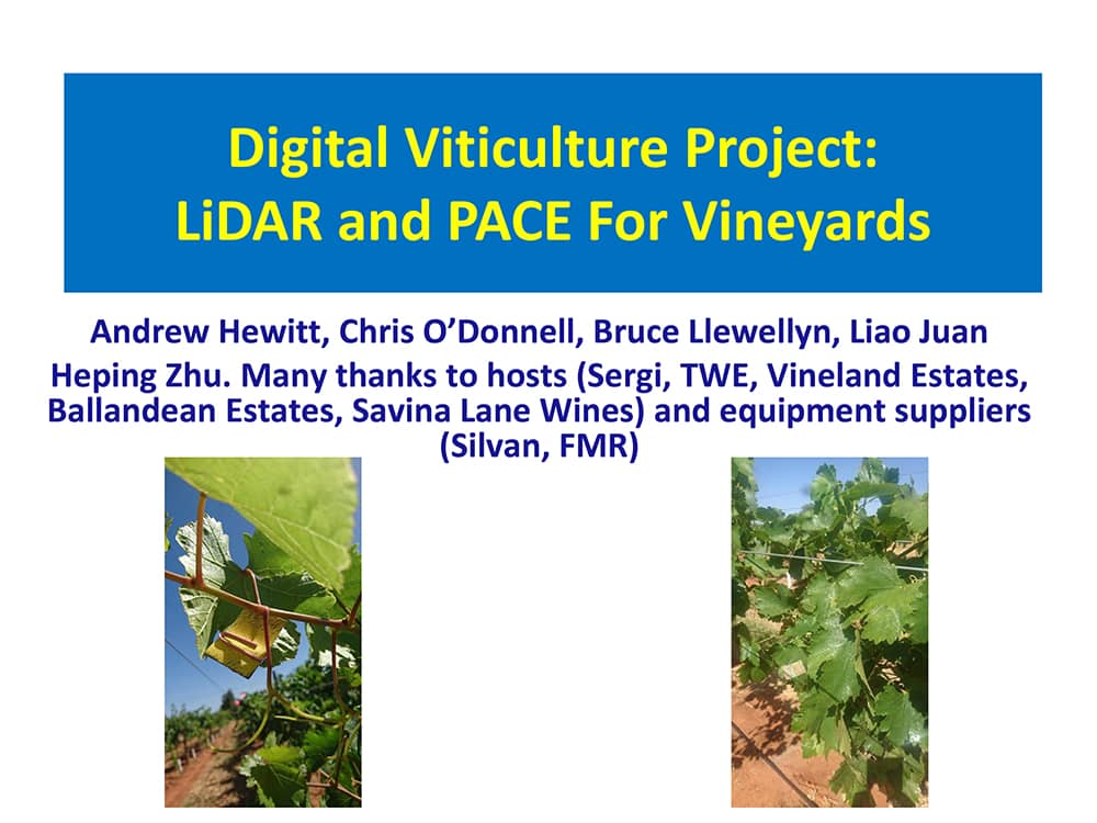 Digital Viticulture Project: LiDAR and PACE For Vineyards