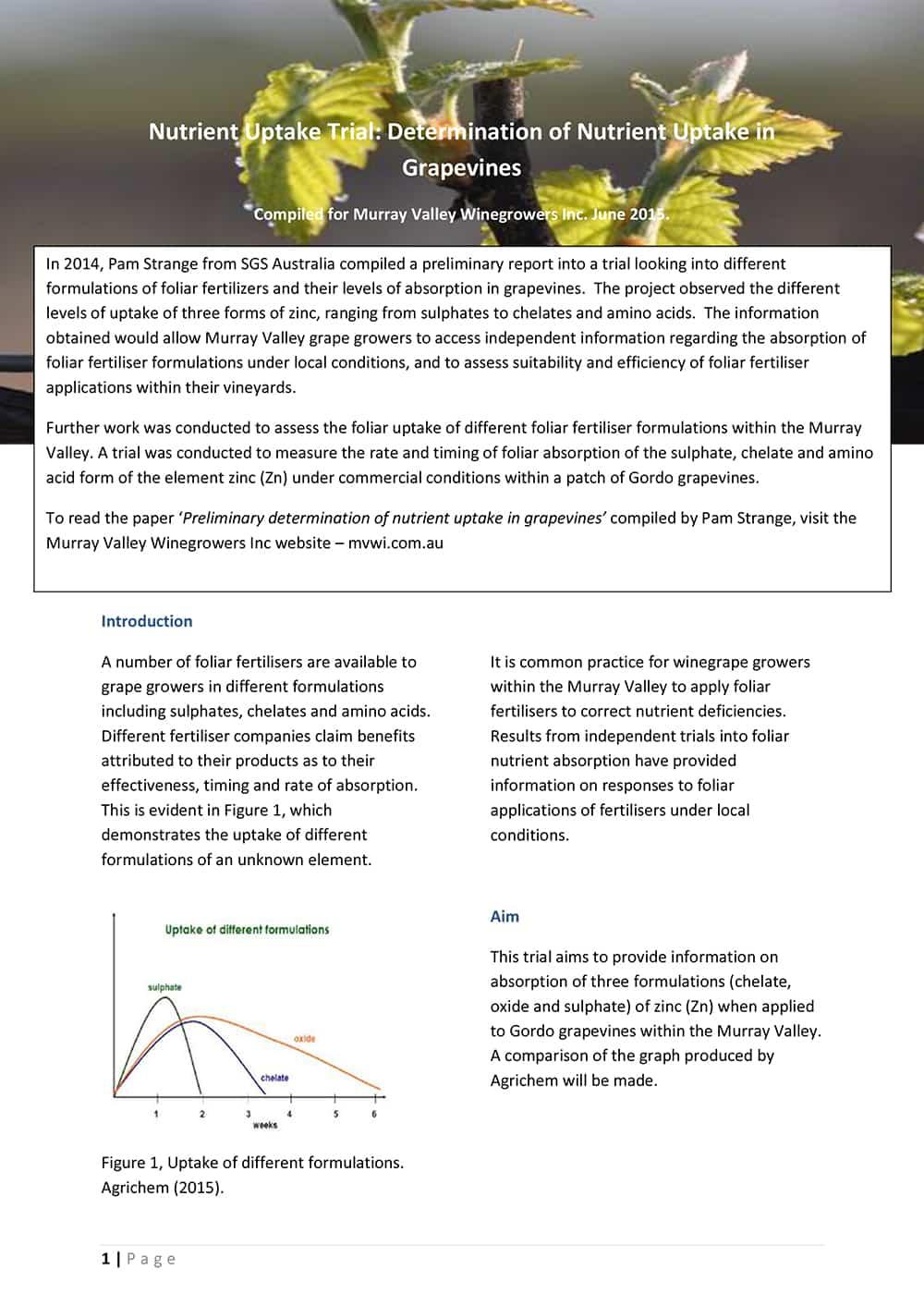 Nutrient Uptake Trial: Determination of Nutrient Uptake in Grapevines