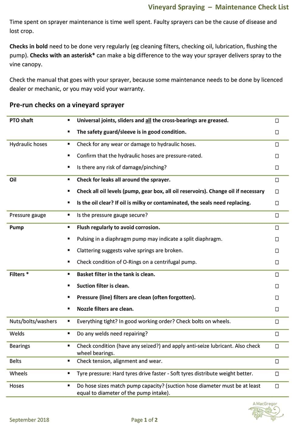 Vineyard Spraying – Maintenance Check List