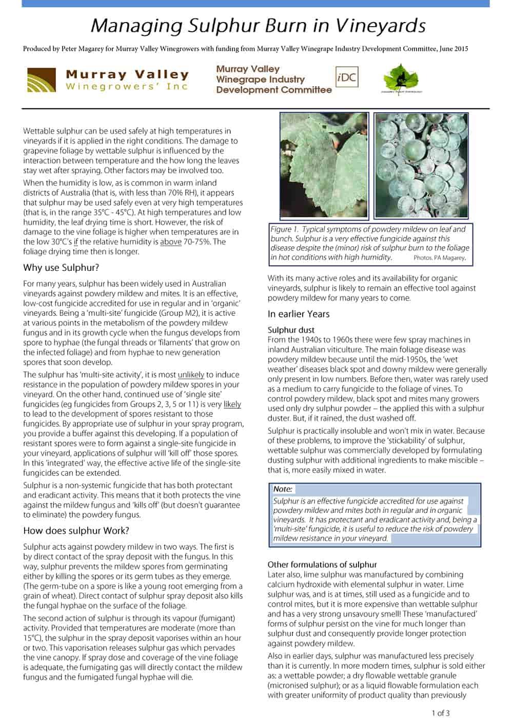 Managing Sulphur Burn in Vineyards